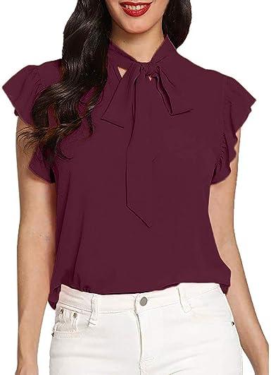 Top Casual de la Gasa de la Camisa de la Pajarita de Las Señoras Dwevkeful Cuello Redondo Moda Casual Blusa de Botones Camisetas Oferta Blusas de Mujer Elegantes de Fiesta: Amazon.es: Ropa