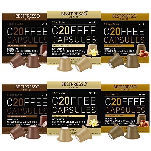 Bestpresso Coffee for Nespresso Original Machine 120 pods Certified Genuine Espresso Variety Pack Caramel,Vanilla and Chocolate, Pods Compatible with Nespresso Original *New Packaging *