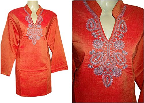 jayayamala Stehkragen Neck Tunika Langarm-Shirt-Kleid