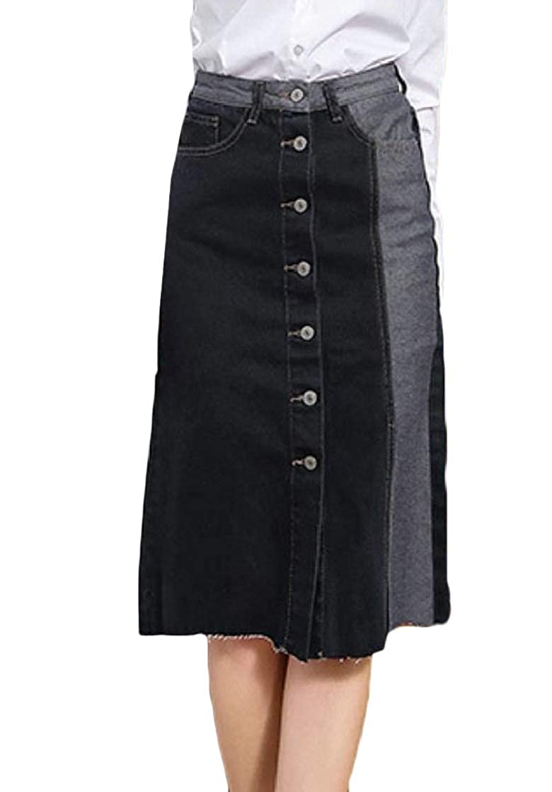 Etecredpow Women Denim Single Breasted Contrast Color High Waisted A Line Skirts