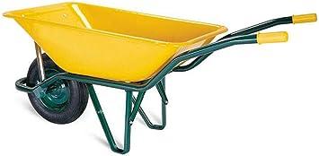 WURKO 15000007 - Carretilla obra amarilla europea 90l: Amazon.es: Bricolaje y herramientas