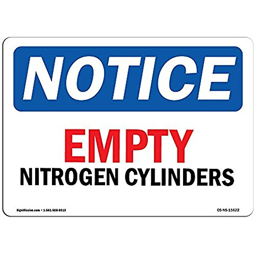 Ditooms Notice Sign Notice Empty Nitrogen Cylinders Aluminum Rigid Plastic Or Vinyl Label Decal Metal Tin 12