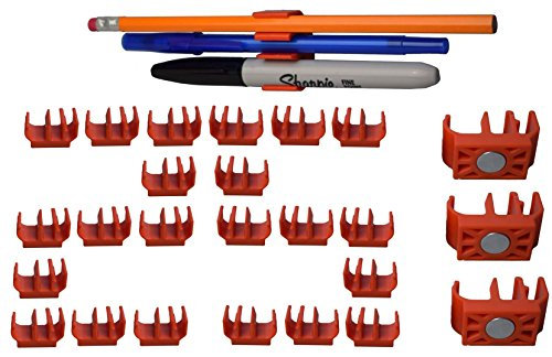 (25 pk) Medium Duty Adhesive Pencil Holder Pen and Marker Clip - Great for hard hat, toolbox, desk, locker, fridge, artist, easel, etc. (And Is Ceramic Advanced Clipper)