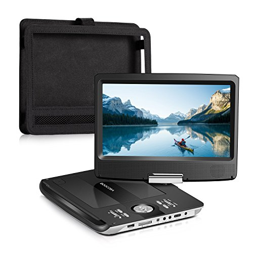 BOOCOSA Portable DVD Player, with Car Headrest Mount Holder, 270° Swivel TFT LCD Screen, Remote Control, Built-in 5 Hours Rechargeable Battery, Car Charger, AV Cable, CD/MMC Card Slot/USB (10.1) (Portable Free Region Player Dvd)