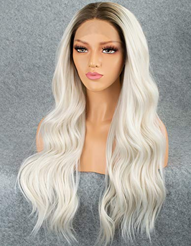 Persephone Ombre Platinum Blonde Lace Front Wig for Women Glueless White Wavy Synthetic Wig Long Wigs Middle Part Heat Resistant 22 Inches ()