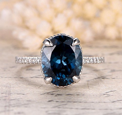 Oval London Blue Topaz Engagement Ring Migrain Under Gallery 14K White Gold 9x11mm (Ring Gallery 14k)