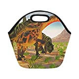Insulated Neoprene Lunch Bag Dicraeosaurus Attacked By Yangchuanosaurus Yangchuanosaurus Dinosaurs Large Size Reusable Thermal Thick Lunch Tote Bags For Lunch Boxes For Outdoors,work, Office, School