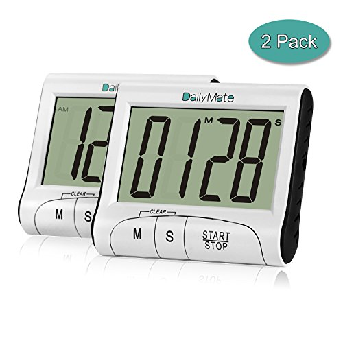 Timer with Clock, Dailymate Stopwatch Count Down Timer, Kitchen Timer with Large LCD Display and Loud Sound Alarm (Pack of (Animal That Starts With M)