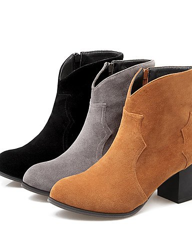 XZZ/ Damen-Stiefel-Kleid-Kunstleder-Blockabsatz-Stifelette / Modische Stiefel-Schwarz / Gelb / Grau black-us7.5 / eu38 / uk5.5 / cn38