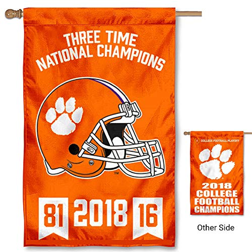 (College Flags and Banners Co. Clemson Tigers 3 Time Football National Champions Double Sided House Flag)