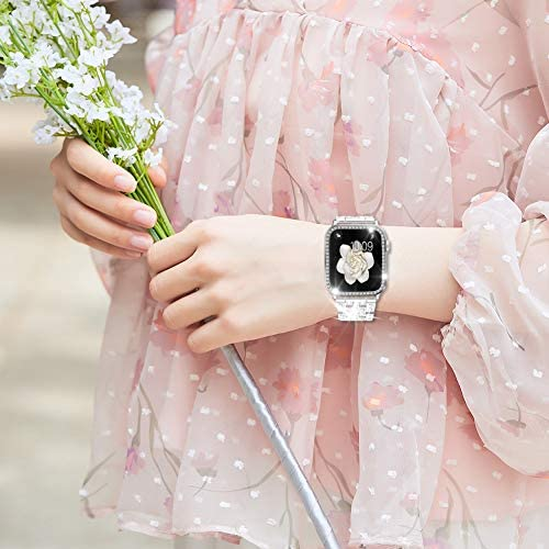 Supoix Compatible with Apple Watch Band 38mm+ Case, Women Jewelry Bling Diamond Metal Strap & Soft PC Bumper Protective Case for iWatch Series 3/2/1(Silver)
