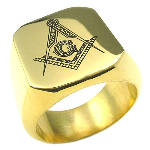 KONOV Mens Stainless Steel Ring, Classic Freemason Masonic, , Size 13