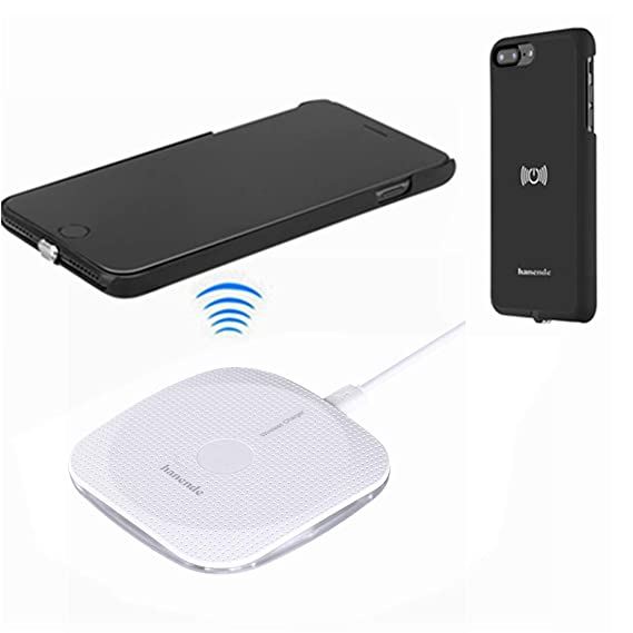 hanende Wireless Charger Kit for iPhone 7, Qi Wireless Charging Pad and  Wireless Receiver Case for iPhone 7 (Black)