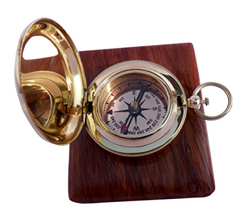 MAH Handmade Brass Push Button Engravable Direction Pocket Compass. C 3191