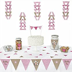 Big Dot of Happiness Little Cowgirl - Western Triangle Baby Shower or Birthday Party Decoration Kit - 72 Pieces