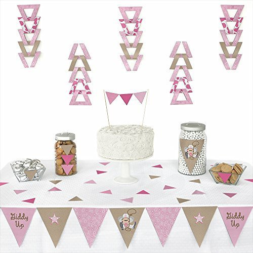 Big Dot of Happiness Little Cowgirl - Western Triangle Baby Shower or Birthday Party Decoration Kit - 72 -