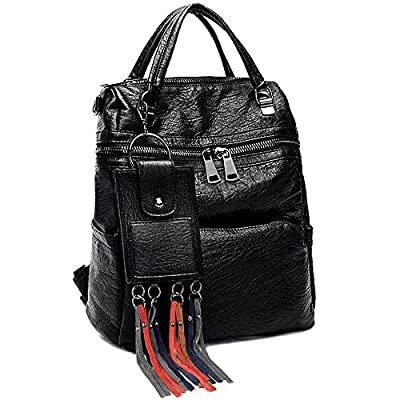 UTO Women Backpack Purse PU Washed Leather Ladies Rucksack Shoulder Bag with Fashion Tassels Wallet