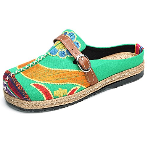 Walking+Slip-On%2C+Tezoo+Women%27s+Summer+Breathable+Blackless+Walking+Shoes%2C+Colorful+Sun+Flower+Series+Embroidered+Shoes%2C+Outdoor+Leisure+Garden+Clogs%2C+House+Slipers%2C+Scandals+Green+10