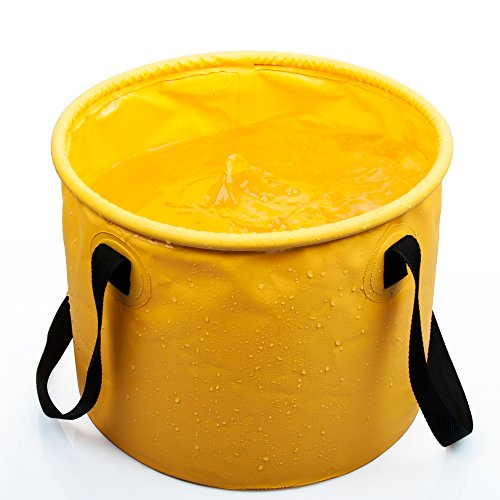 Folding Pail - DONYER POWER Collapsible Bucket Outdoor Camping Foldable Water Container Portable Folding Wash Pail for Beach, Travel, Camping, Fishing, Gardening, Car Washing Yellow 10L