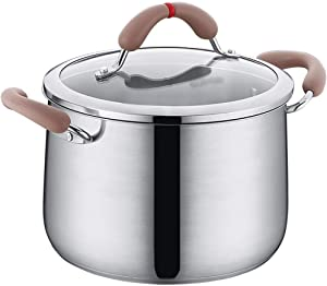 LIUSHI Saucepans Pans Soup Pot Soup Pot Thick 304 Stainless Steel Household Soup Pot Saucepan Milk Pot Induction Cooker Gas Oat Porridge Pot Home Pot Perfect for Breakfast Frying Pan (Size: 22CM)
