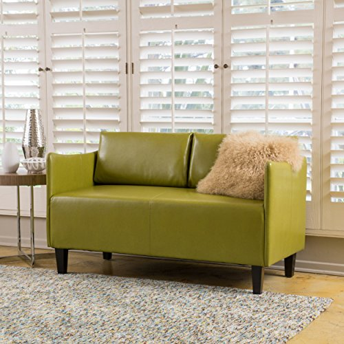 Nile Green Bonded Leather Loveseat