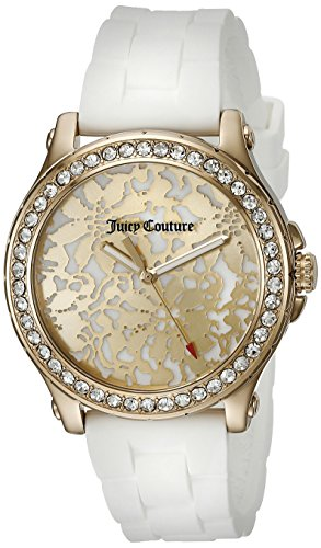 Juicy Couture Women's White Gold Silicone Strap Watch - 7