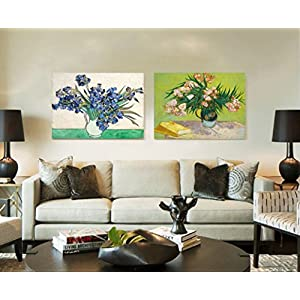 Niwo Art (TM - Vase with Irises, by Vincent Van Gogh - Oil Painting Reproductions - Giclee Canvas Prints Wall Art for Home Decor, Stretched and Framed Ready to Hang (16 x 20 x 0.75 Inch) 3