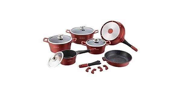 Royalty Line - Batería de cocina 369 C, de 15 piezas, estilo piedra, rojo: Amazon.es: Hogar