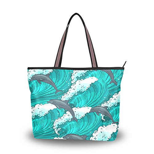 Women's Designer Handbags Fashion Big Canvas Washable Tote Bags Shoulder Bag Top-handle Bag with Hand Painted Dolphin for Shopping Travel - Dolphin Painted Hand