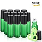 Olilia 5ml Glass Roll on Bottles with Metal Roller Balls, Essential Oils Opener included Pack of 12 (Green)