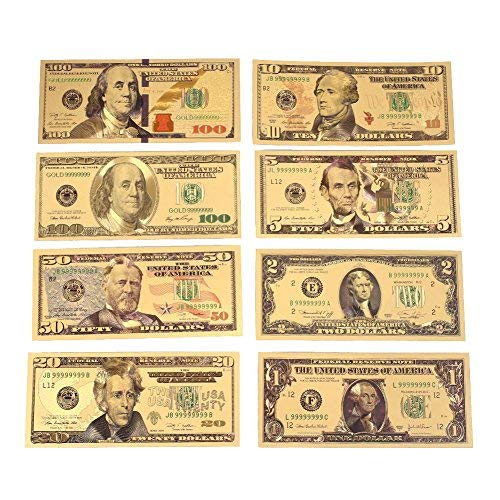 monque 1 2 5 10 20 50 100 Dollar 24K Gold Plated Dollars Realistic Coin Collection