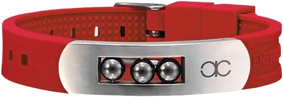 Zidao Las Pulseras magnéticas 4 en 1 de Iones Negativos germanio Banda de Silicona cargadas con Brazalete de Iones Negativos y Pulsera con Estilo para Hombres y Mujeres,Rojo