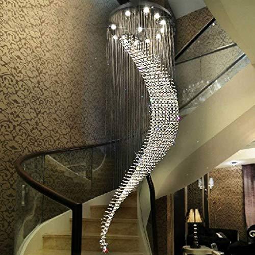 JZX Moderna lámpara de Cristal Doble, araña, Villa Hall Light,Lámpara de 10 cabezas-70 * 240cm