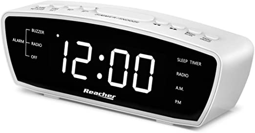 Amazon Com Reacher Simple Alarm Clock Radio With Usb Charger Port Fm Radio Dimmer 6 Snoozes 9 Minute Intervals Adjustable Alarm Volume For Heavy Sleepers For Bedrooms White Electronics