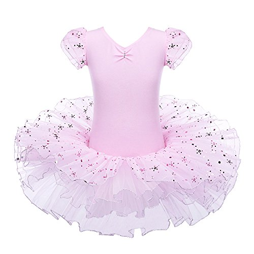 Ballerina Tag - BAOHULU Ballet Leotard for Girls Ruffle SleeveTutu Skirted Ballerina Dance Costumes (3-4 Years(Tag No.M), Sequined Pink)