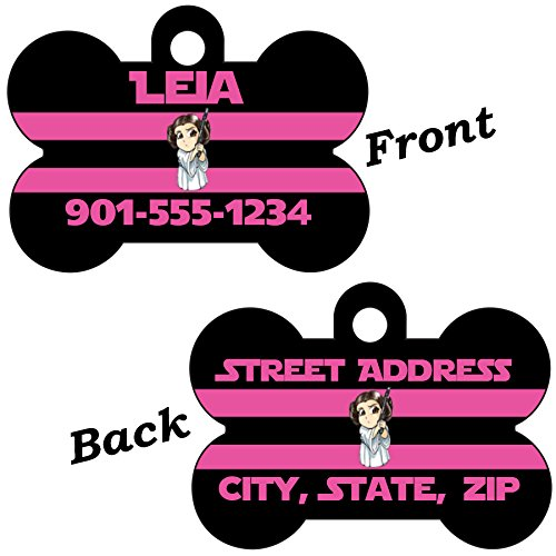 Disney Star Wars 2-SIDED Pet Id Dog Tag Personalized for Your Pet (Princess Leia, Regular)