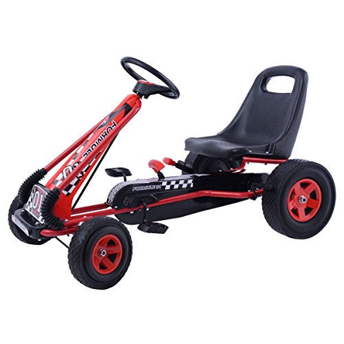 Costzon Go Kart Kids Ride On Pedal Car 4 Wheel Powered Racer Outdoor Toy (Pedal Toy Racer Car)