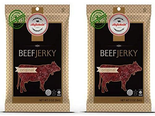 Aufschnitt Beef Jerky - Original - 2 pack (2 oz each) Kosher, Glatt, Star-K Certification, Gluten Free, All Natural, No Nitrites, Grass Fed Beef