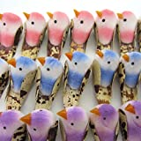 48Pcs Artificial Mini Birds Handmade Flower Floral