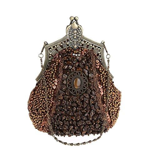 De FZHLY Soirée Sac Sac D'épaule Nuptiale Chic Coffee Robes Robe D'épaule Couture Lourds Femmes Croix Rétro Broderie Sac vqrYxgqAXR