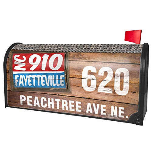 NEONBLOND Custom Mailbox Cover 910 Fayetteville, NC red/Blue -