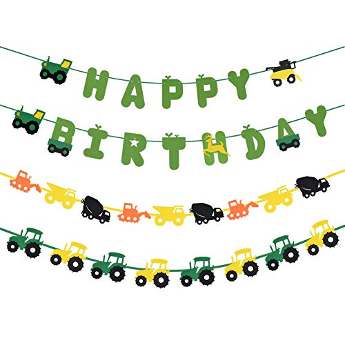 Happy Birthday Banner- Green Tractor Decorations-Party Supplies Set All-in-One Pack including Colorful Letters Banner,Tractor Banners and Cake Pop Sticks