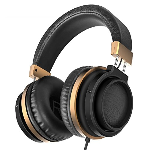 Ailihen MX-06 Over Ear Headphones with Microphone and Volume Control Bass Stereo Adjustable Headsets for IOS Android Smartphones Laptop Tablets Computer MP3/4 (Black Golden) by AILIHEN