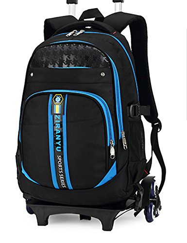 19' Wheeled Backpack (HIGOGOGO Boys Rolling Backpack Removable Schoolbag Wheels Trolley Hand Luggage Light Weight Climb Stairs 6 Wheels Blue (6 Wheels, Blue))