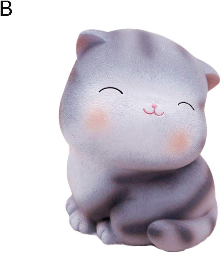 aus Kunstharz Maxtapos Spardose mit Cartoon-Katzen-Motiv f/ür Kinder