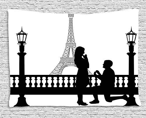 CHARMHOME Engagement Party Decorations Tapestry, Paris Lovers City