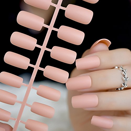CoolNail Nude Matte Fake False Nails Squoval Top Frosted Light Orange Artificial Pre Designed Bride Nail Art Tips Summer Daily Wear -