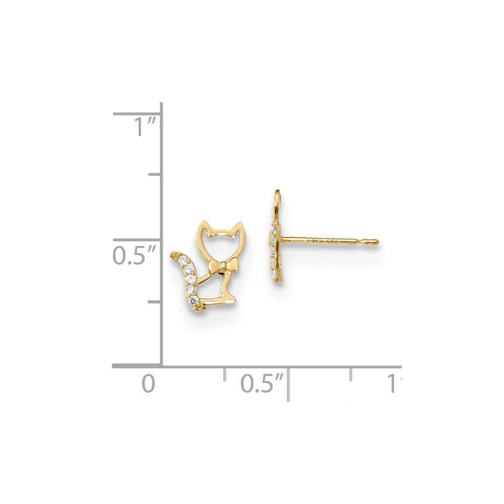 14K Yellow Gold Madi K CZ Kitty Cat Post Earrings