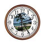 New Espresso/Cappuccino Finish Round Wall Hanging Clock featuring Hawaii Beach Themed Logo