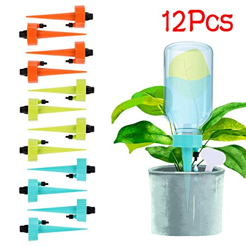 - XGao Self Watering Spikes 12pcs Automatic Plant Waterer Plant Watering Stakes with Slow Release Control Valve Switch Vacation Drip Watering Bulbs Stake System for Indoor Outdoor Plants (Multicolor)